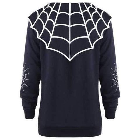Halloween Plus Size Spider Web Coat - Black Xl