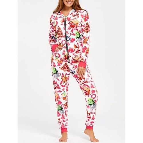 Hooded One Piece Christmas Pajama - M