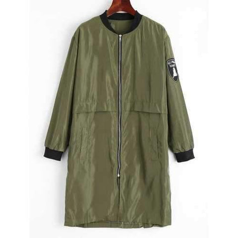 Plus Size Long Zip Up Patches Bomber Coat - Army Green 4xl