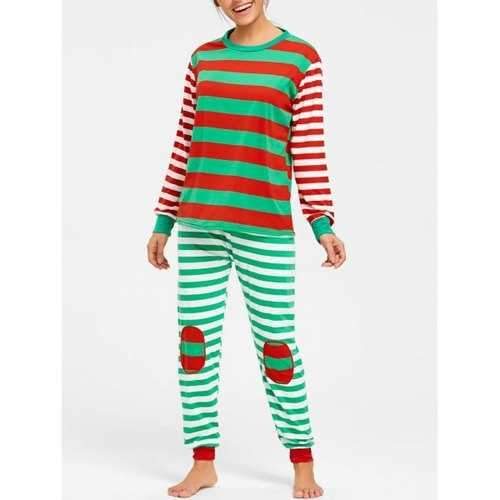 Color Block Striped Christmas Pajama Set - M