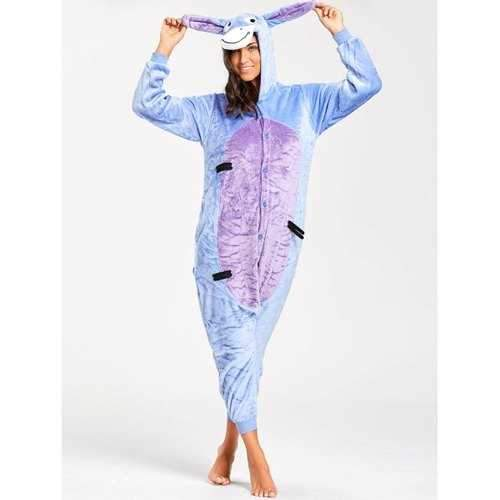 Funny Donkey Animal Onesie Pajamas - Blue Xl