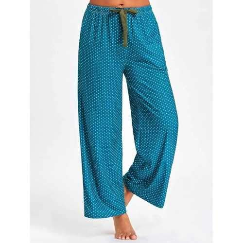 Drawstring Waist Polka Dot PJ Pants - Deep Green Xl