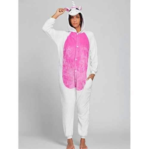 Cute Unicorn Animal Onesie Pajama - Pink L