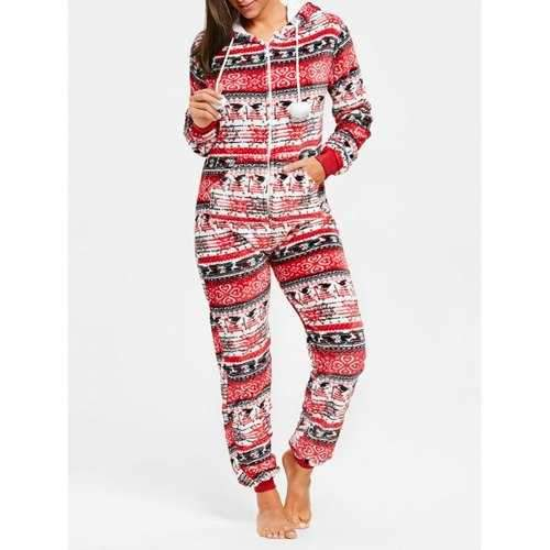 Hooded Zip Christmas Jumpsuit Sleepwear - Red S