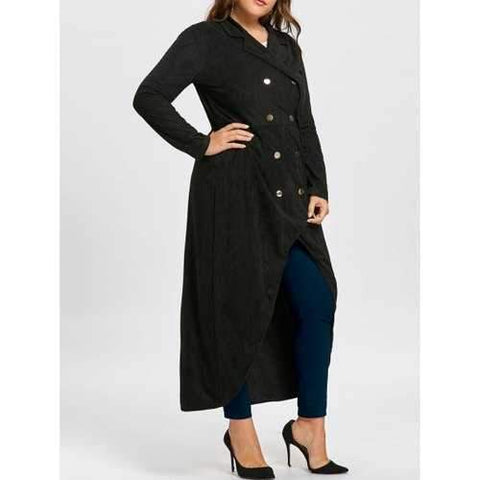 Gothic Plus Size Double Breast Maxi High Low Coat - Black Xl