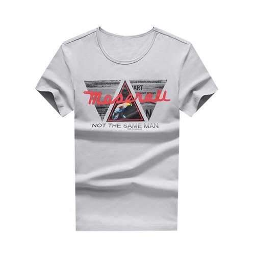 Round Neck Letter Triangle Print Tee - Gray Cloud L