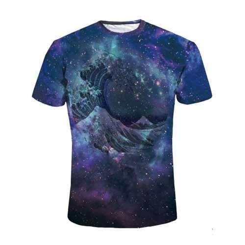 Galaxy Print Short Sleeve Tee - Deep Blue M