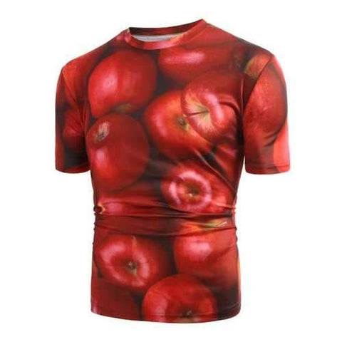 3D Apple Print Round Neck T-shirt - Red S