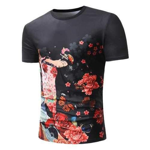 Ancient Chinese Beauty Print Tee - Black M