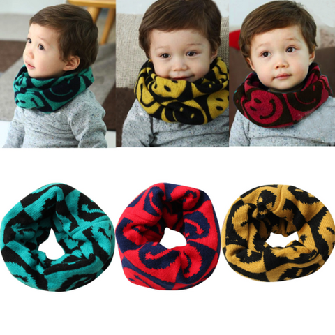 Baby Children Knitted Woolen Scarf Cartoon Smile Face Wrap