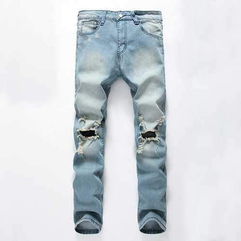 Vintage Fashion Light Blue Worn Hole Printed Stone Washed Denim Ripped Jeans for Men