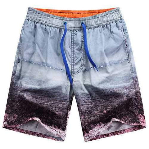 Hawaiian Style Seaside Printing Icy Cotton Breathable Loose Beoard Shorts for Men