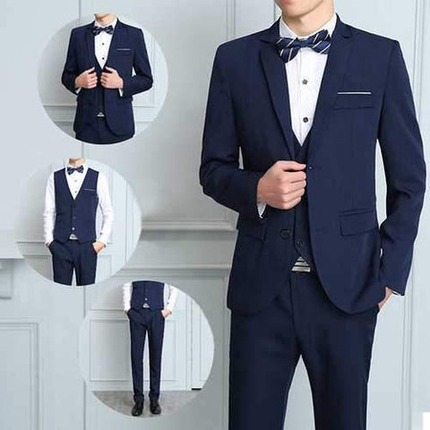 Three Pieces Formal Fashion Thin Slim Fit Blazer Suit for Men