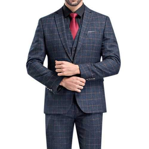 Plaids Gentleman Wedding Formal Three Pieces British Style Slim Blazers for Men