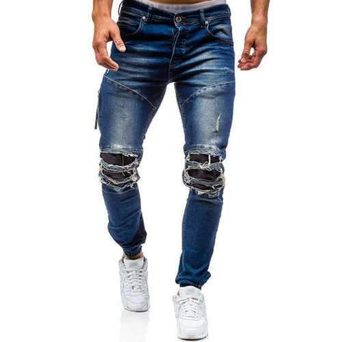 Stylish Biker Washed Holes Frayed Jeans