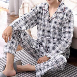 Mens Home Long Sleeve Pockets Loose Pajamas Sets