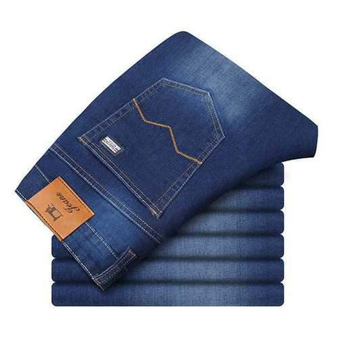 Loose Elastic Solid Color Jeans