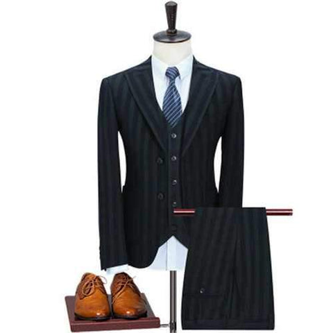 Stripes Slim Three Pieces Suits
