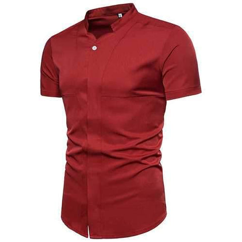 Hiden Buttons Solid Color Cotton Shirt