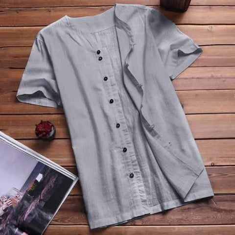M-3XL Thin Loose Cotton Linen Shirt