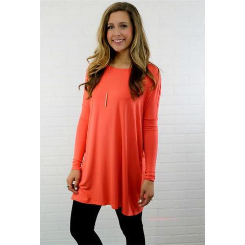 New Arrival Hot Fashion Solid O-neck Long Sleeve T-Shirt Orange