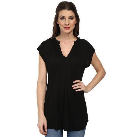 Active Sexy Women Short Sleeves With V-Neck Summer Long Shirt Black