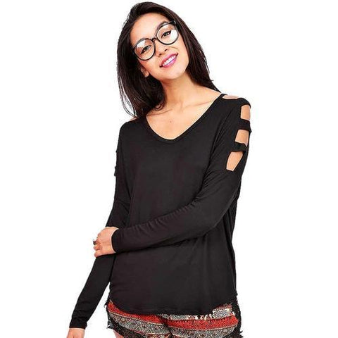 Elegant Newest Women Long Sleeves With Strappies-Hollow Out Shirt Black