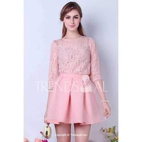 Elegant Round Collar Hollow Lace 3/4 Length Sleeve Pink Women's Blouse - Pink S