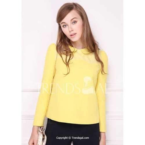Sweet Peter Pan Collar Solid Color Yellow Long Sleeve Women's Blouse - Yellow S