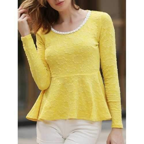 Charming Round Collar Beading Embellished Long Sleeve Cotton Blend Yellow Women's Blouse - Yellow S