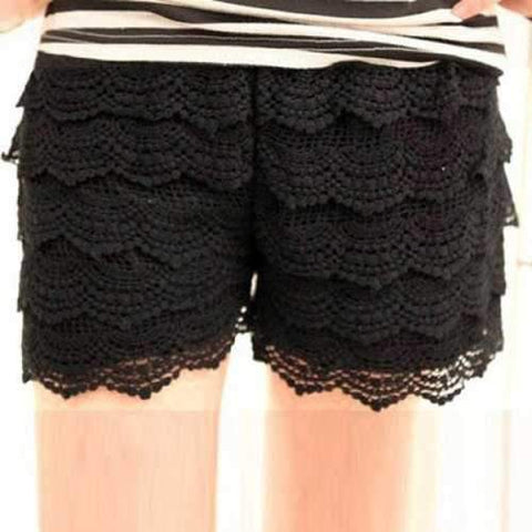 Stylish Lovely Delicate Lace Embellished Openwork Shorts For Women - Black Free Size
