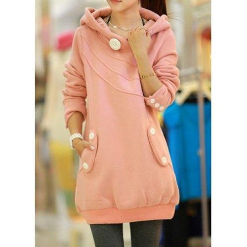 Casual Hooded Button Pocket Splicing Long Sleeves Thickened Loose-Fitting Women's Hoodie - Pink One Size