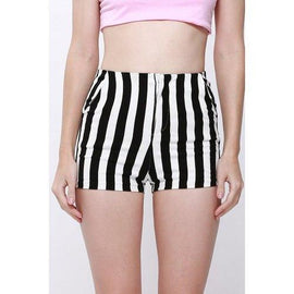 Stylish Striped Slimming High-Waisted Shorts For Women - Black S