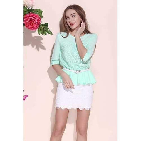 Summer Round Collar Lace Flouncing 3/4 Length Sleeve Women's Blouse - Mint Green M