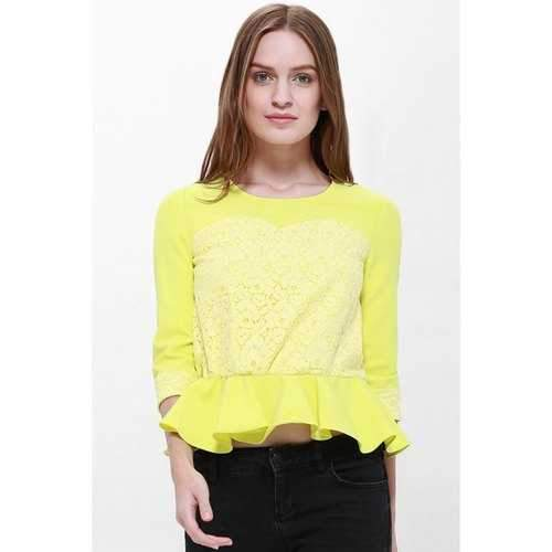 Sweet Round Collar Lace Thicken Flouncing 3/4 Length Sleeve Women's Blouse - Yellow M