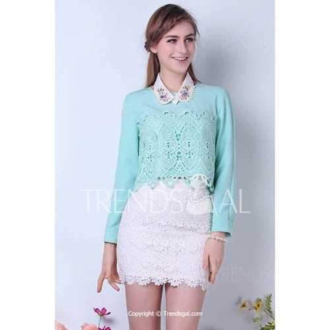 Charming Round Neck Solid Color Lace Long Sleeve Light Green Women's Blouse - Green M