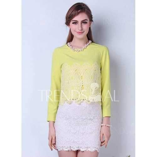 Charming Round Neck Solid Color Lace Long Sleeve Light Yellow Women's Blouse - Yellow S