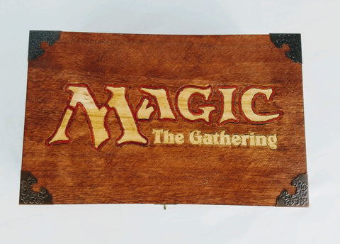 Magic The Gathering - Inspired Card and Dice Storage Box - Hard Candy Woodshop