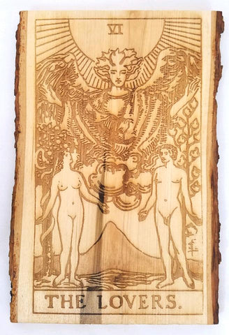 The Lovers Tarot Card / Engraved Major Arcana Plaque - Hard Candy Woodshop
