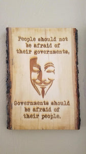"Guy Fawkes / Anonymous Inspired ""Governments"" Plaque - Hard Candy Woodshop"