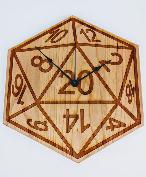 D20 Wall Clock in Solid American Cherry Wood - Hard Candy Woodshop