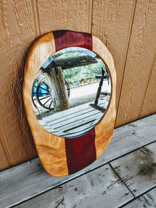 Asymmetrical Sculpted Wall Mirror in Flame Birch and African Padauk Woods - Hard Candy Woodshop