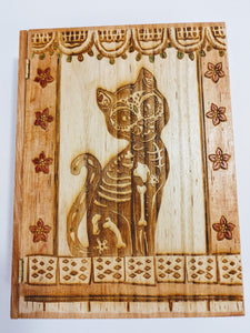 Dia De Los Muertos / Skeleton Cat Book Box - Hard Candy Woodshop