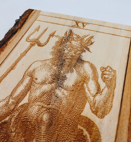 Old Italian Tarot Card Devil / Diavolo /Diablo - Hard Candy Woodshop