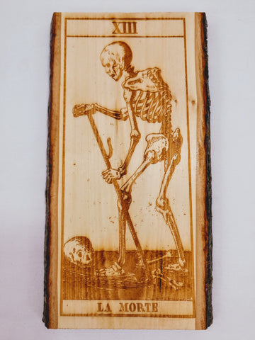 Old Italian Tarot Death Card / La Morte Plaque - Hard Candy Woodshop