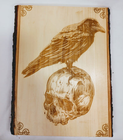 Raven and Skull Wall Plaque / Live Edge Wall Art - Hard Candy Woodshop