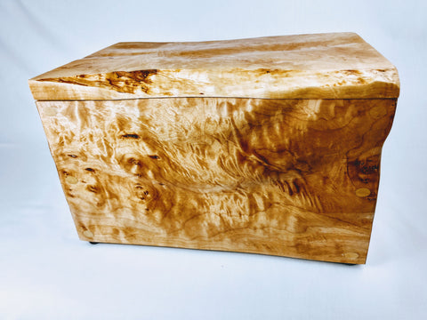 Sculpted Quilted Maple Box / Lined / Birch Pin Joinery - Hard Candy Woodshop