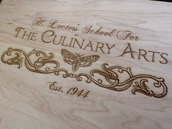 Hannibal Lecter's School of the Culinary Arts Maple and Walnut Cutting Board - Hard Candy Woodshop