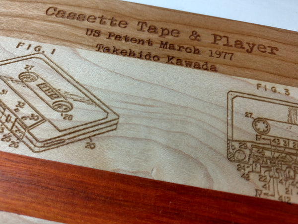 Cassette Tape Blueprint Patent Compact Cutting Board - Hard Candy Woodshop