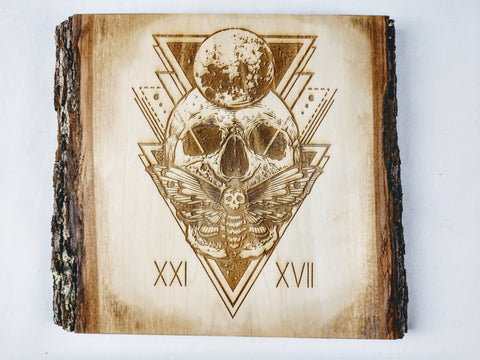 Skull, Moon, and Deathshead Moth Plaque - Hard Candy Woodshop